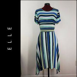 Elle Woman Short Sleeve Stripe Tunic Dress Large
